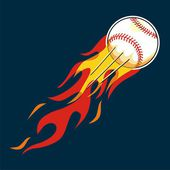 Baseball with flame design elements — Vector de stock