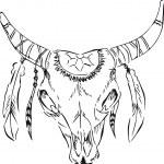 Retro style longhorn skull,doodle illustration — Stock Vector