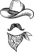 Doodle Hat,scarf and mustache, cowboy style — Stock vektor