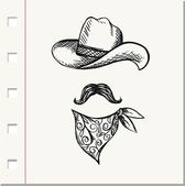 Doodle Hat,scarf and mustache, cowboy style — 图库矢量图片