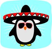 Pingouin dans les lunettes de soleil et chapeau — Vecteur