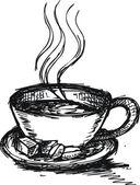 Sketch Coffee and sugar — Stock Vector