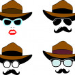 Sunglasses, mustaches, hat set — Stock Vector