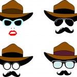 Sunglasses, mustaches, hat set — Stock Vector