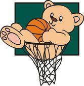 Teddy Bear with basketball — Stock Vector