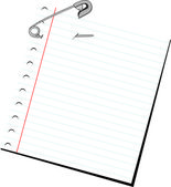 Paper note with safety pin — Vecteur