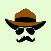 Sunglasses, mustaches, hat — Stock Vector