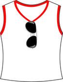 Sun glasses hang on at t-shirt — Wektor stockowy