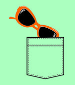 Shirt pocket with sun glasses — Stock Vector