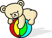 Teddy bear, play ball — Stock Vector