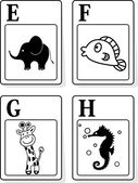 Alphabet animals from E to H — 图库矢量图片