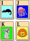 Alphabet animals from I to L — Vettoriale Stock