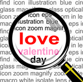 Love Valentine with Magnifying glass — Stock Vector