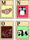 Alphabet animals from M to P — 图库矢量图片