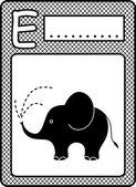 Letter E-Elephant — Stock Vector