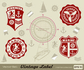 Ocean and navigation labels — 图库矢量图片