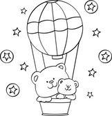 Medvídek s balónem — Stock vektor