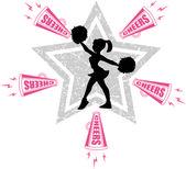 Silhouette of cheerleader — Stock Vector