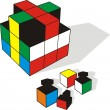 3d illustration of cube — Stock Vector