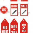 Red sale tickets, labels, stamps, stickers, corners, tags — Vettoriale Stock