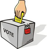 Hand with voting ballot — Stock Vector