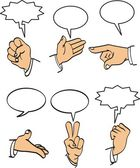 Speech bubbles and hand set — Stock Vector