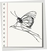 Butterfly fly on a flower — Vector de stock