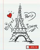 I love paris with eiffel tower — Stock Vector