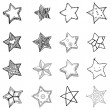 16 Simple Hand Drawn Stars Shapes — Stock Vector