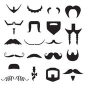 Vector hipster mustache and beard shapes — Stock Vector