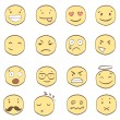 Collection of cartoon smiles — Stockvektor