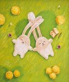 Illustration rabbits in love — Stock Photo