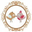 Vector vintage birds in love — Stock Vector