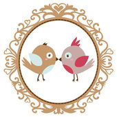 Vector vintage birds in love — Stock Vector