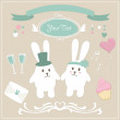 Stock Vector: Vector bunnies wedding set