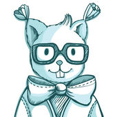 Vector funny hipster squirrel in glasses — Stok Vektör