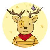 Cute hipster cartoon deer with little bird — Stock Photo