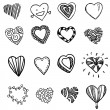 Vector Set of doodle hand drawn shapes of heart on white — Stock Vector