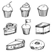 Set of vector doodle hand drawn cakes — Stock Vector