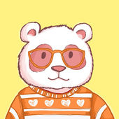 Hipster pink cartoon panda bear wearing glasses and a sweater — Stok fotoğraf