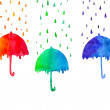 Watercolor umbrellas with raindrops on white background. Red,green and blue abstract umbrellas — Stock Photo