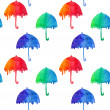Pattern with watercolor colorful umbrellas.Red,green and blue abstract umbrellas on white background — Stock Photo