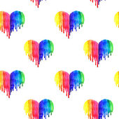 Pattern with rainbow watercolor abstract hearts on white background — Stock Photo