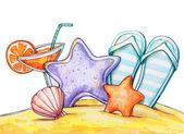Dessin illustration de vacances d'été — Photo