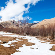 Kazbegi-Gergeti village in winter, the road to the Kazbek mountain — Stock Photo #42418293