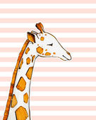 Drawing cute giraffe on striped background — Stock Photo