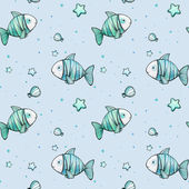 Cute marine pattern with watercolor fishes,starfish and shell on blue background — Stock Photo