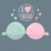 I love you art. Cute whales in love. Vector illustration — Stock Vector