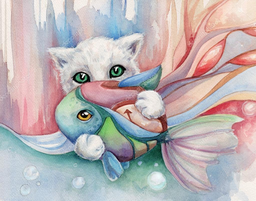 水彩绘画只白色的猫爪子抽象背景上着一条鱼