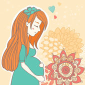 Vector pregnant girl with red hair on floral abstract background — Stock Vector